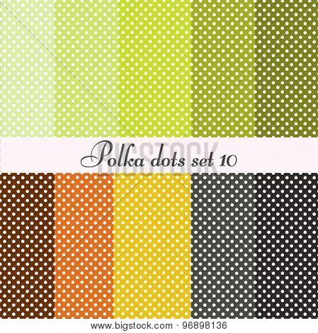 polka dots set seamless patterns 10 pcs