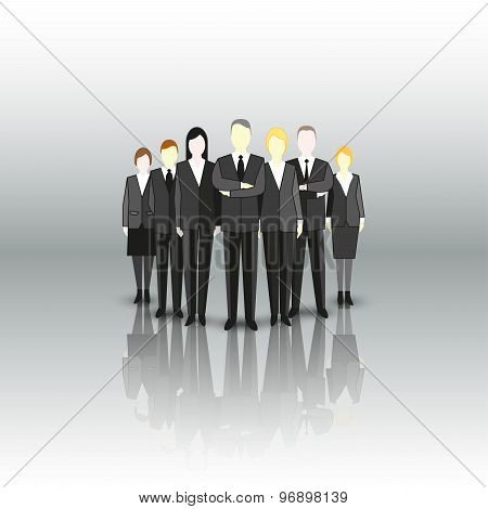 Group of a professional business team. Characters are standing over gray background. Vector illustra