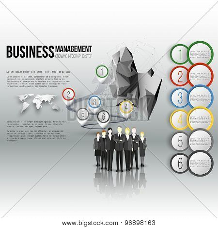 Group of a professional business team standing over gray background with timeline and world map. Vec