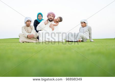 At summer vacation family together
