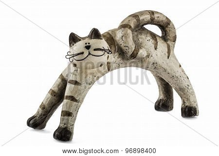 Ceramic Figurine Cat, Isolated On White Background