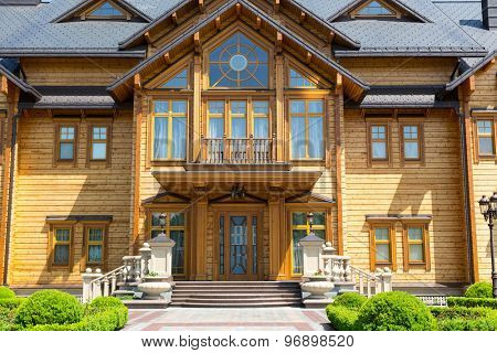 Novi Petrivtsi, Ukraine - May 27, 2015 Mezhigirya residence of ex-president of Ukraine Yanukovich.  Facade of the