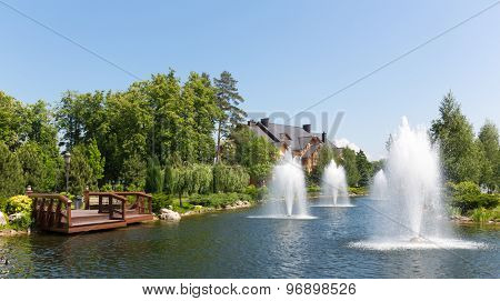 Novi Petrivtsi, Ukraine - May 27, 2015 Mezhigirya residence of ex-president of Ukraine Yanukovich. beautiful lake with fountains near