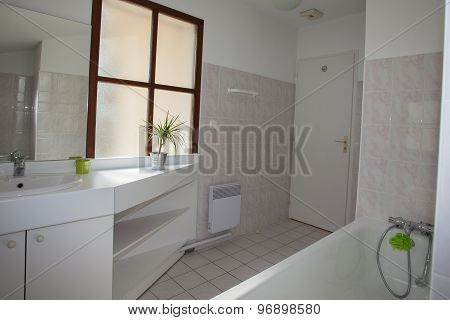 Nicely Decorated Modern White  Washroom,