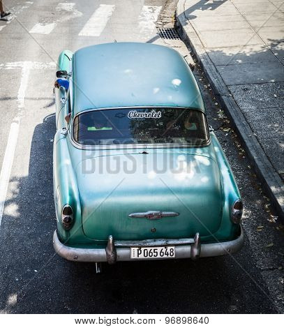 HAVANA, CUBA - CIRCA JULY 2015: Old Chevrolet on Vedado district in Havana, Cuba.