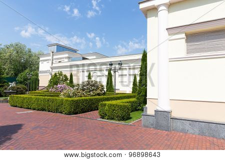 Novi Petrivtsi, Ukraine - May 27, 2015 Mezhigirya residence of ex-president of Ukraine Yanukovich. Side view of sport complex building