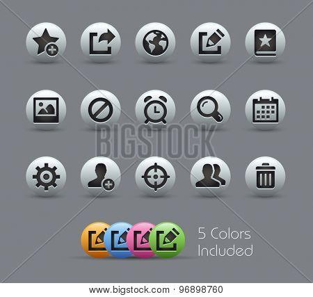 Communication Interface Icons // Pearly Series ----- The Vector file includes 5 color versions for each icon in different layers -----