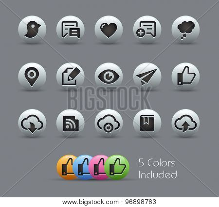 Social Sharing and Communications // Pearly Series ----- The Vector file includes 5 color versions for each icon in different layers -----