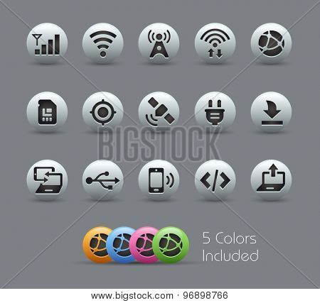 Connectivity Icons // Pearly Series ----- The Vector file includes 5 color versions for each icon in different layers -----