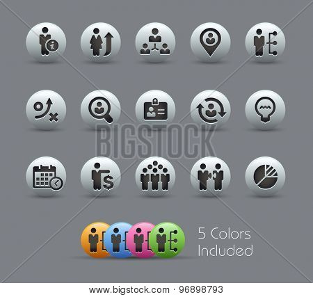 Efficiency and Business Strategies // Pearly Series ----- The Vector file includes 5 color versions for each icon in different layers -----