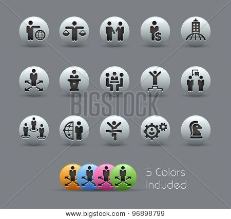 Planing Success and Business Strategies // Pearly Series ----- The Vector file includes 5 color versions for each icon in different layers -----