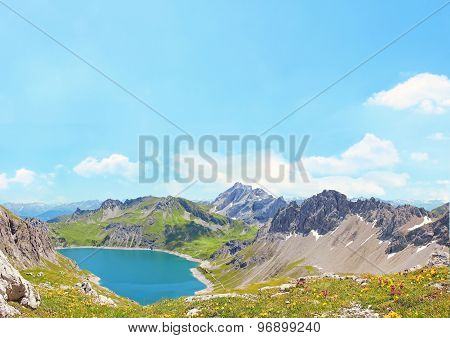 Alpine Landscape Lunersee, Blue Sky Background