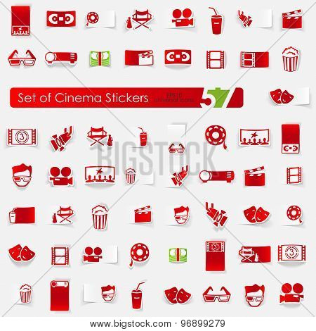 Set of cinema stickers