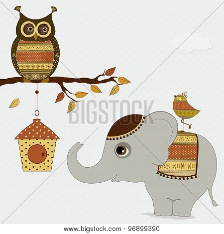 Cute Cartoon Elephant With Bird And Owl On Branch