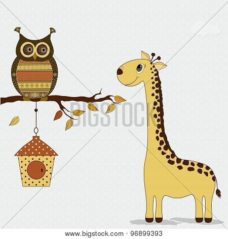 Cute Giraffe With Owl On Branch