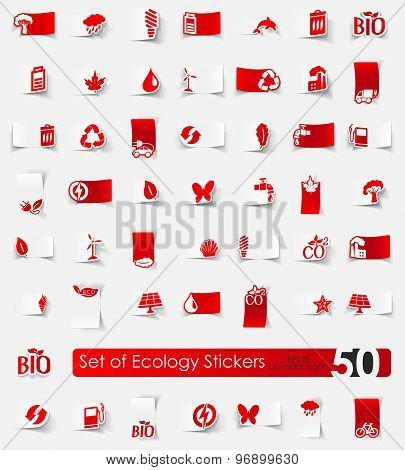 Set of ecology stickers