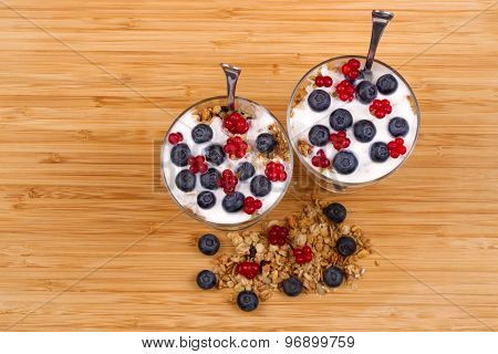 Yogurt, Muesli And Berries Of Blueberry, Bog Bilberry And Stone Bramble.