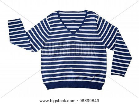 Blue Striped Wool Sweater.