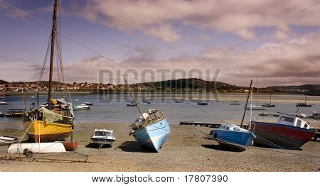 Boats Moored On Conwy Harbour In Wales