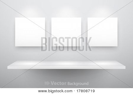 3d isolated Empty shelf for exhibit and three frames. Vector illustration.