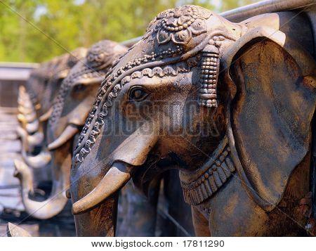 Elephant Fountain Water Spouts - BAPS Swaminarayan Mandir in Lilburn, GA