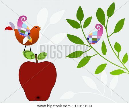 Pretty bird on an apple