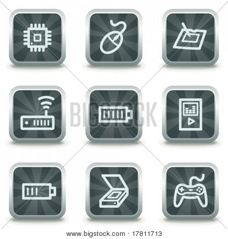 Electronics  web icons set 2, grey square buttons