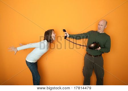 Woman Screaming On Telephone Conversation