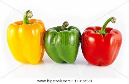 Yellow, Green  and Red Bell Peppers