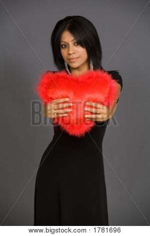 Woman With A Red Heart