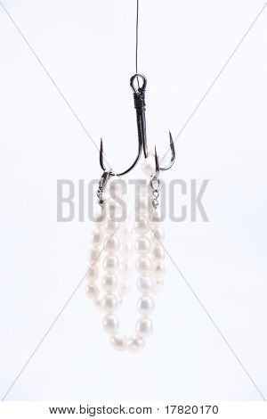 Jewelry Made ??of Pearls Hanging On Fishing Hook