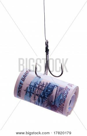 Twisting Banknotes Hanging On A Hook