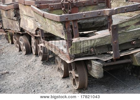Dilapidated coal mine trucks