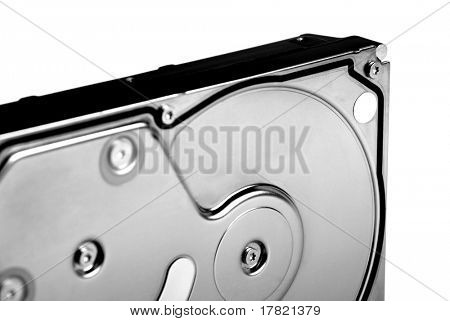 External casing of a hard disk drive in high contrast black and white