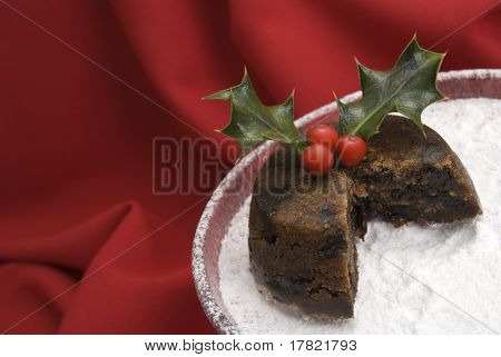 Christmas pudding with a slice cut away