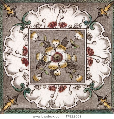 An Aesthetic period original tile dating around 1880 with hand colored design
