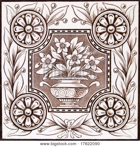 An Aesthetic period original tile dating around 1875 with urn and flowers design