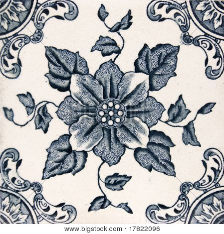 An Aesthetic period original tile dating around 1880 with floral design