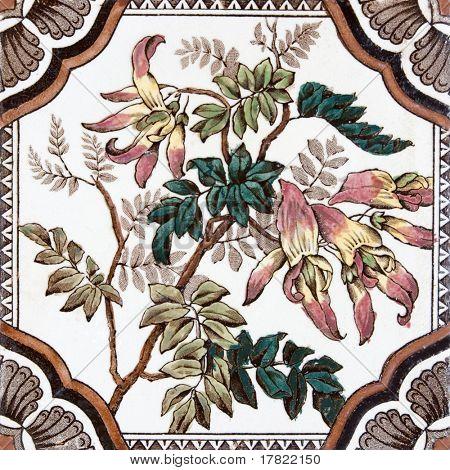 Azulejo impresa de Artes decorativas época victoriana con flores