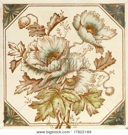 A hand coloured Victorian period aesthetic design poppy flower  tile
