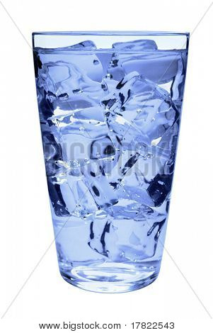 Ice cold water in a straight sided tumbler