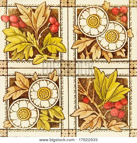 An antique tile in the Aesthetic taste dating to the late 19th century c1880