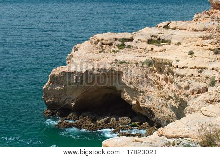 Rocky peninsula at Algar Seco, Algarve, Portugal