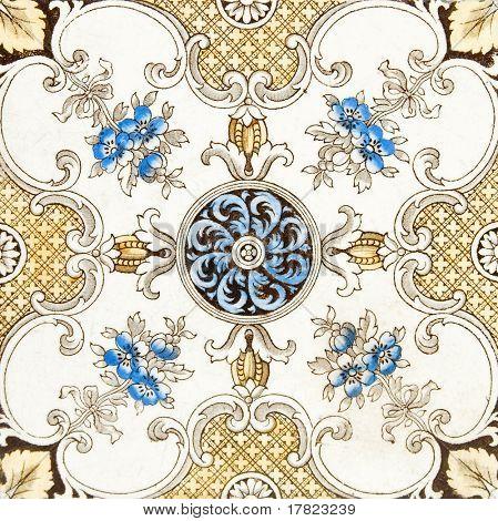 An antique Victorian decorative wall tile