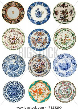 Twelve antique plates of various design, all 19th century - genuine antiques series
