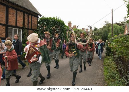 ADMASTON, STAFFORDSHIRE, UK - SEPTEMBER 8: The Abbots Bromley Horn Dancers perform the ancient annual ceremonial Horn Dance on 'Wakes Monday', September 8 2008, Admaston Village, Staffordshire, UK