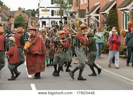 ABBOTS BROMLEY, STAFFORDSHIRE, UK - SEPTEMBER 8: The Horn Dancers Performing the Ancient Horn Dance Outside the Bagot Arms Public House, September 8 2008, Abbots Bromley, Staffordshire, UK