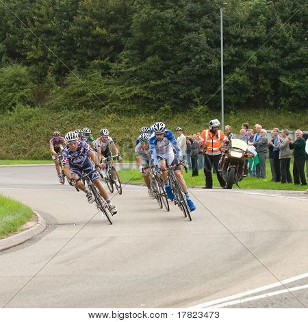 TELFORD, UK - SEPTEMBER 10: Tour of Britain Cycle Race - Lead Pack of Nine Riders During Stage 4, Newport, Telford, September 10, 2008