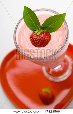 Strawberry fruit drink with garnish