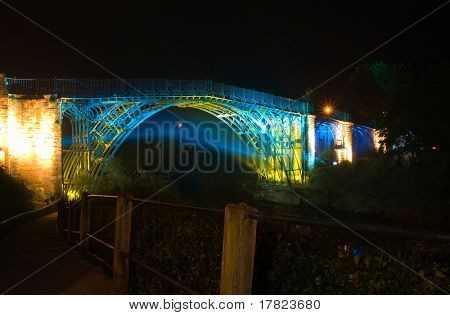 Abraham Derby's historic Ironbridge lit up at night